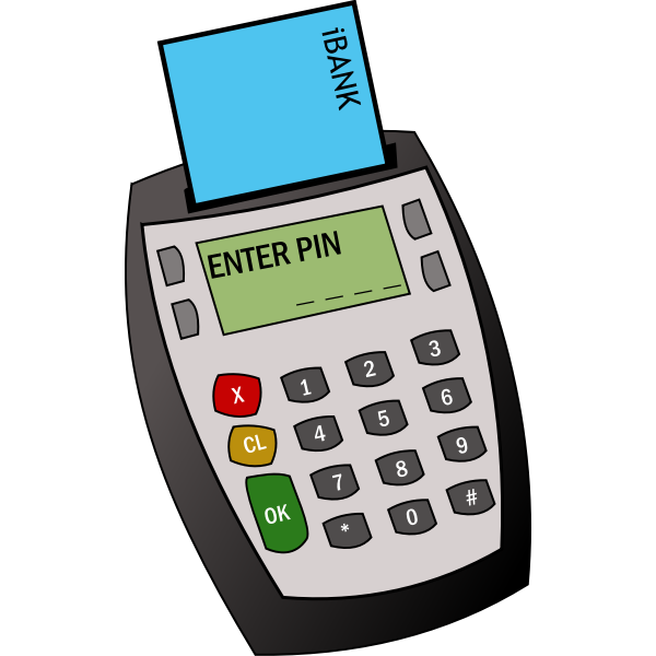 Card payment machine vector graphics