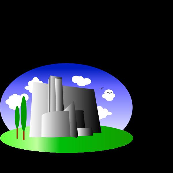 Grey building in natural landscape vector