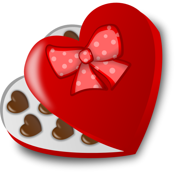 Heart-shaped box of chocolates vector illustration