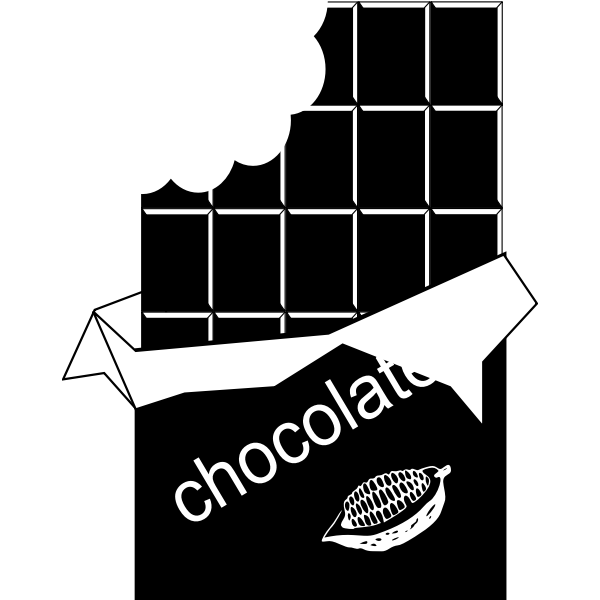 Vector drawing of black and white chocolate bitten off