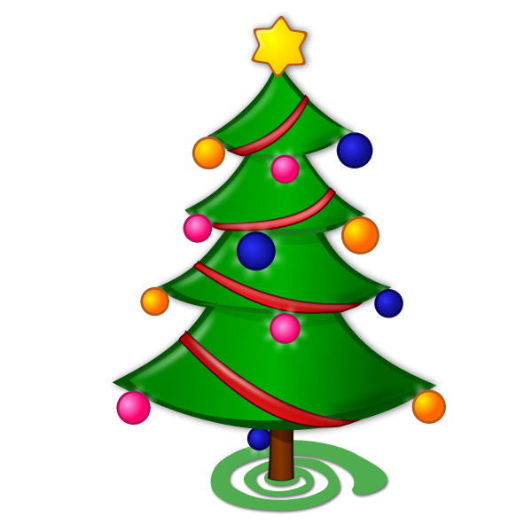 Christmas tree with ornaments and red ribbon vector graphics