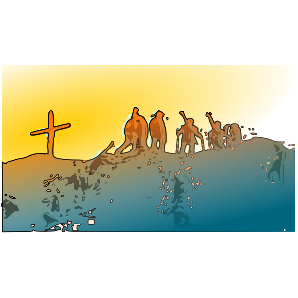 Vector image of climbers on summit