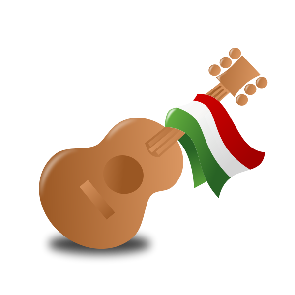 Vector illustration of guitar and flag on it