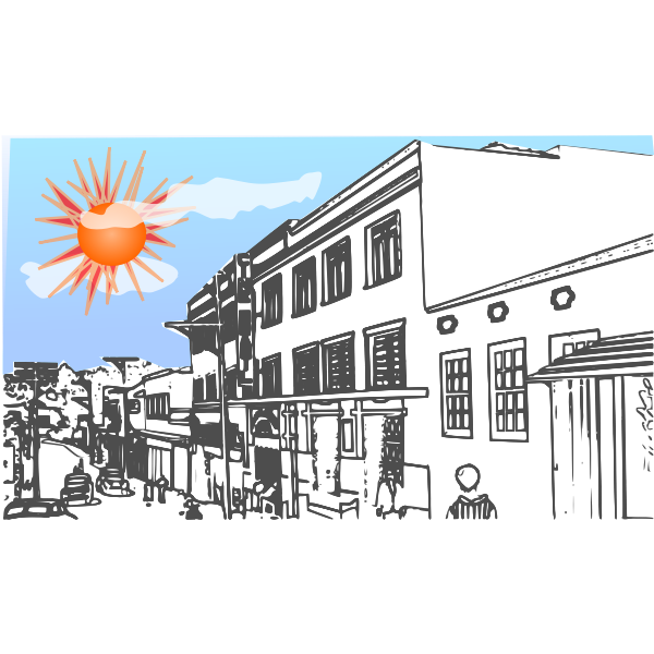 Image of red sun over town