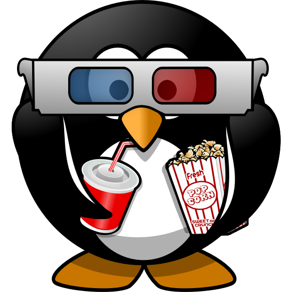 Vector illustration of cinema viewer penguin
