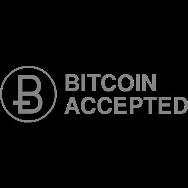 Bitcoin Accepted Gray button