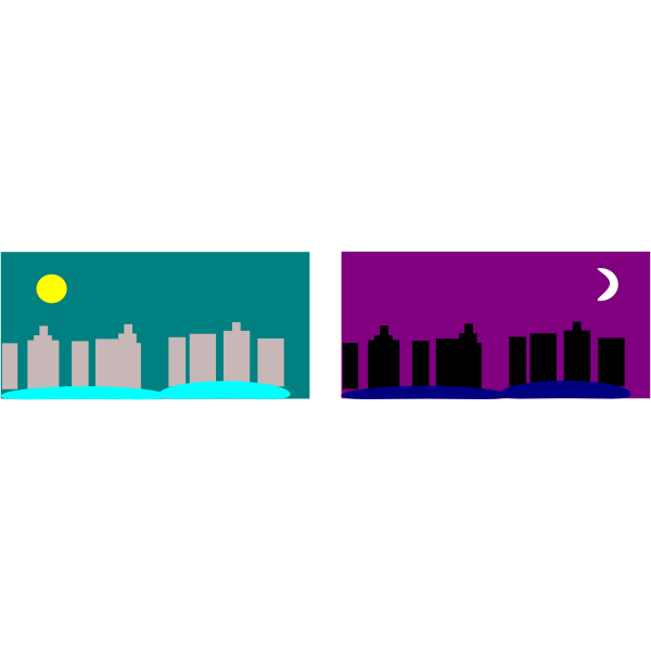 City in day and night