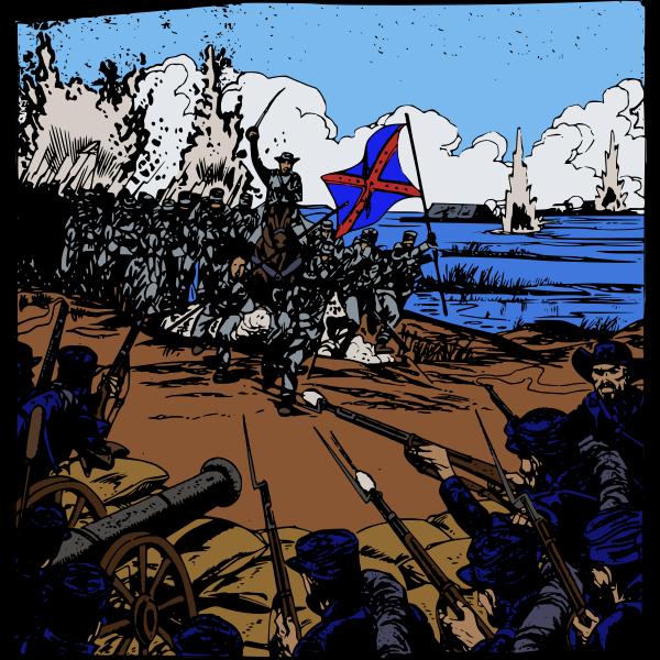 Vector graphics of civil war big battle scene
