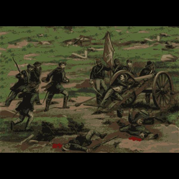 Civil war battle vector drawing
