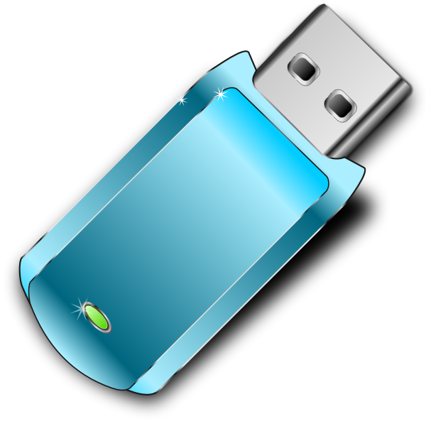 Vector graphics of shiny blue USB stick