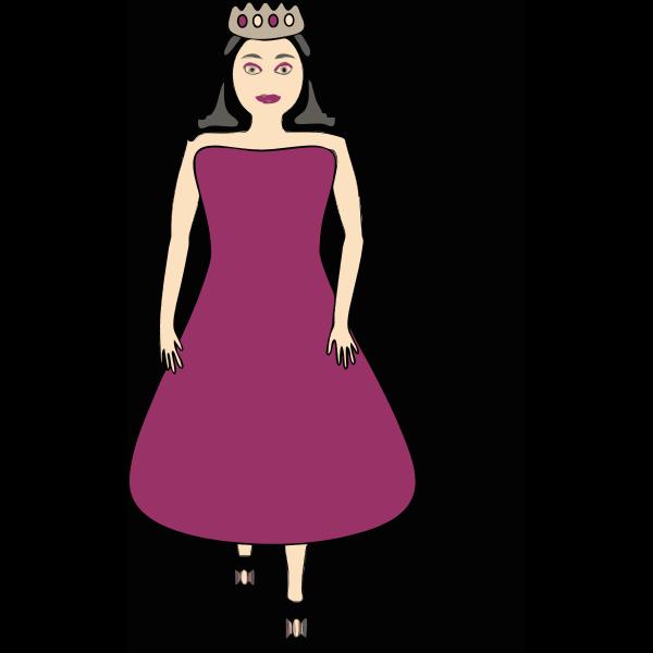 Vector image of queen in a purple dress