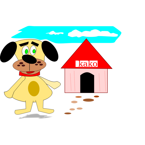 Cartoon dog and house