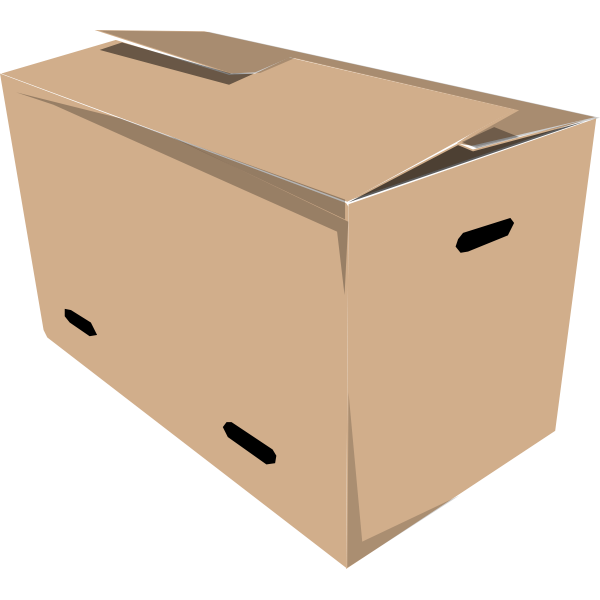 Vector clip art of closed carrying cardboard box