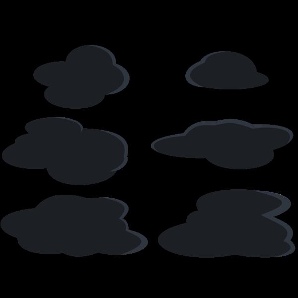 Dark grey clouds set vector clip art