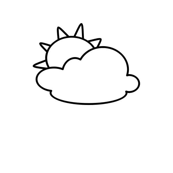 Outline symbol for partly cloudy sky vector illustration
