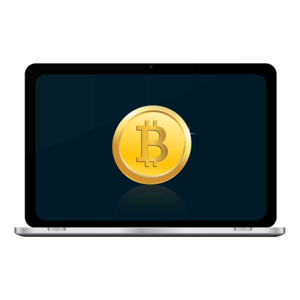 Bitcoin on laptop screen vector illustration