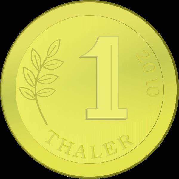 One golden coin vector