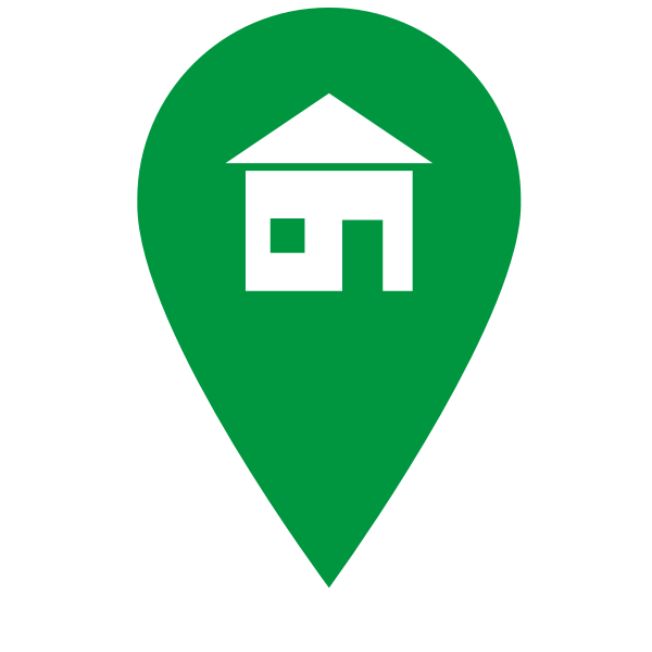 Vector image of location pointer with home sign