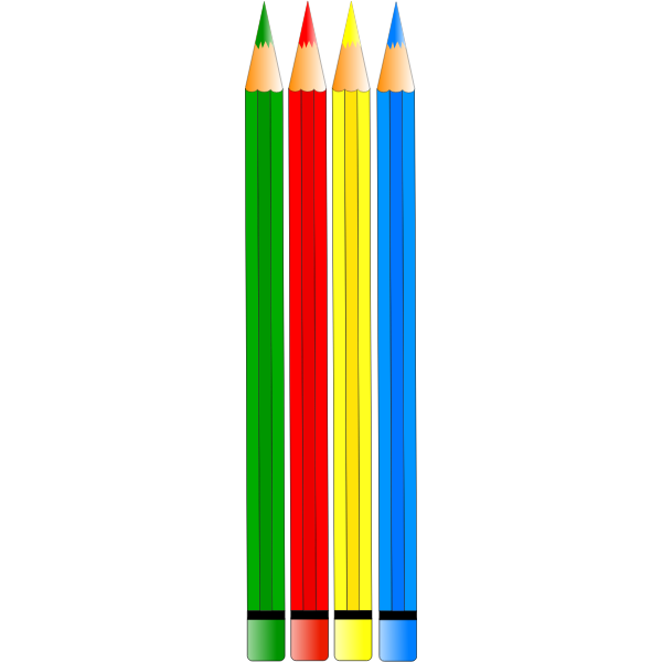 Vector drawing of four colored pencils