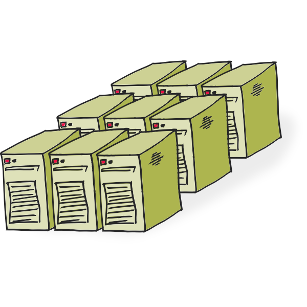 Comic-style servers vector illustration