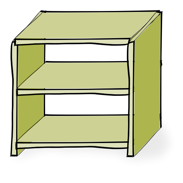 Drawing of wooden shelves