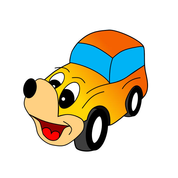 Comic yellow car vector illustration