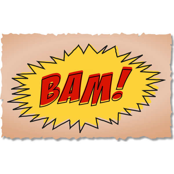 Vintage comic BAM sound effect on brown background