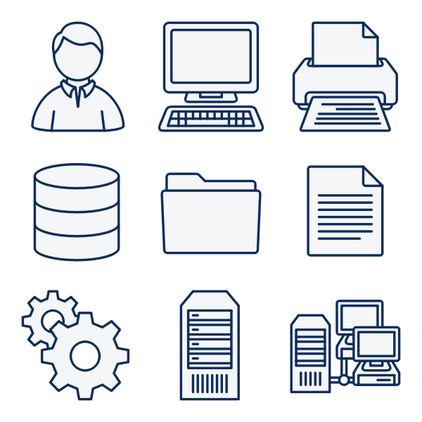 Vector clip art of set of computer network diagram icons