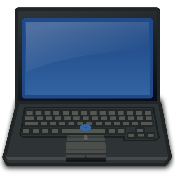 Vector image of front view of laptop