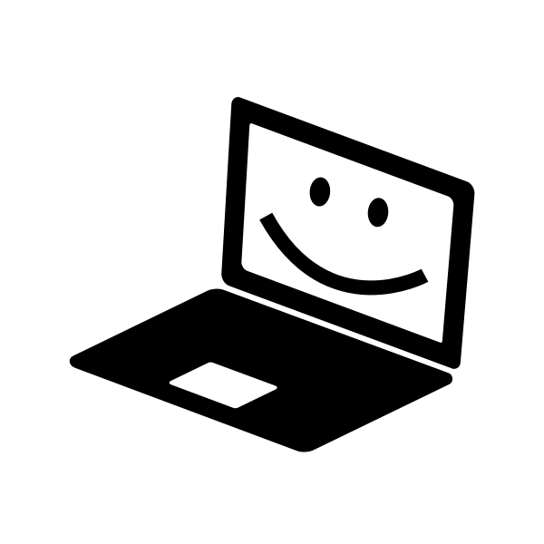 Laptop icon with a smile on the screen vector clip art