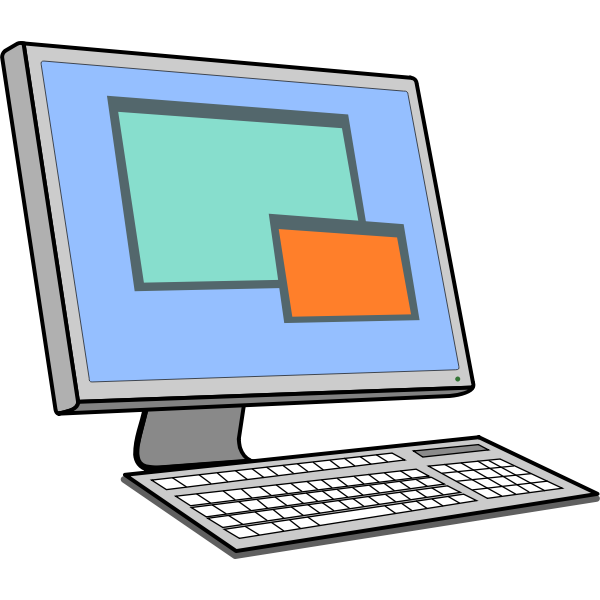 Screen and keyboard vector drawing