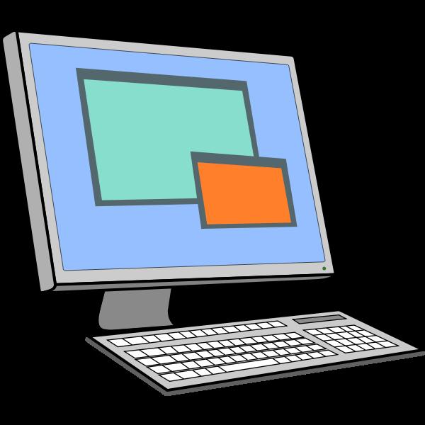 Screen and keyboard vector drawing