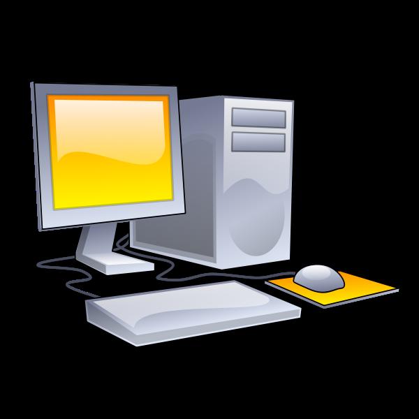 Pony desktop computer configuration vector clip art