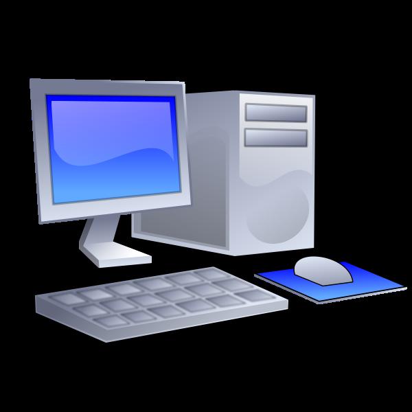 Vector clip art of color PC configuration icon