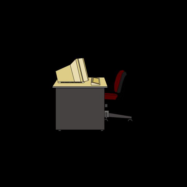 Computer desk vector clip art