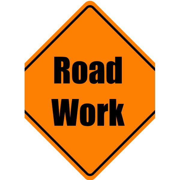 Vector graphics of construction work warning square traffic sign
