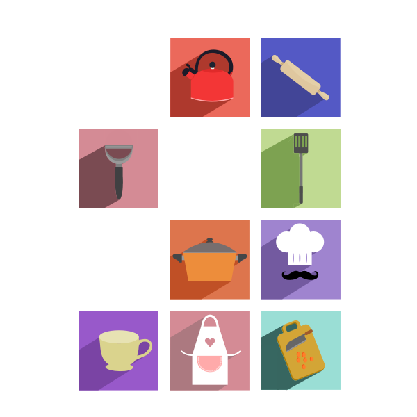 Vector drawing of cooking utensils long shadow icons