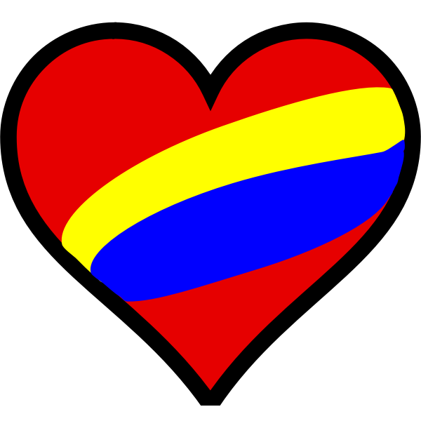 Vector drawing of striped heart in colors