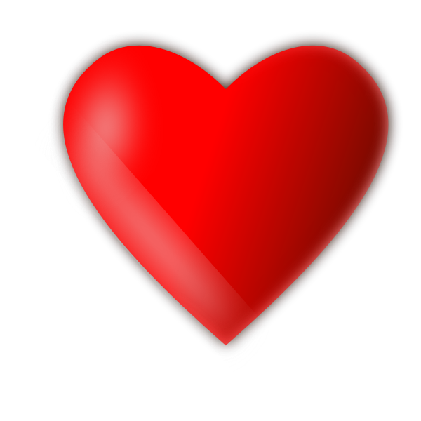 Simple red color drawing of a glossy love heart