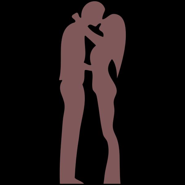 Outline illustration of couple kissing