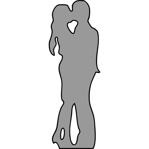 Image of gray silhouette of young couple kissing