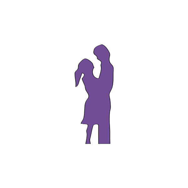 Silhouette drawing of man and woman