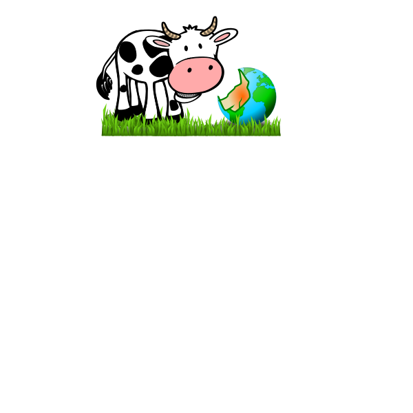Vector image of cartoon cow eating Earth