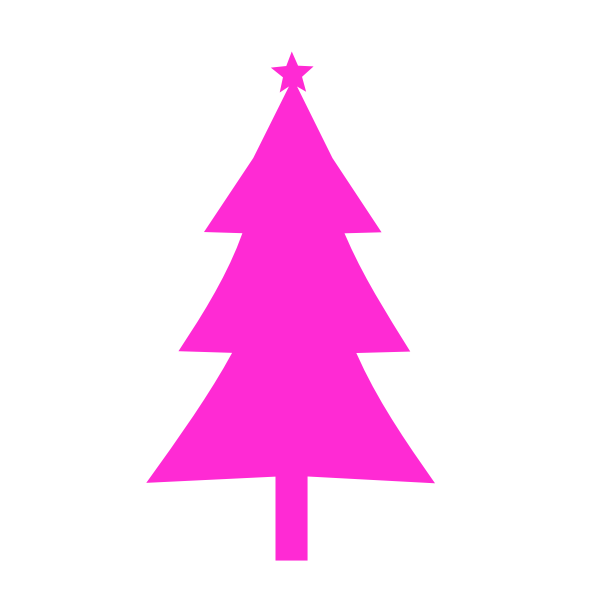Christmas tree pink color silhouette