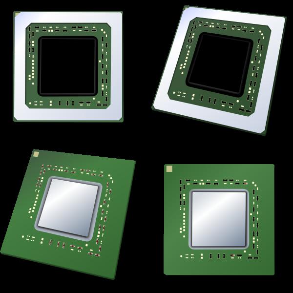 Four CPUs vector image