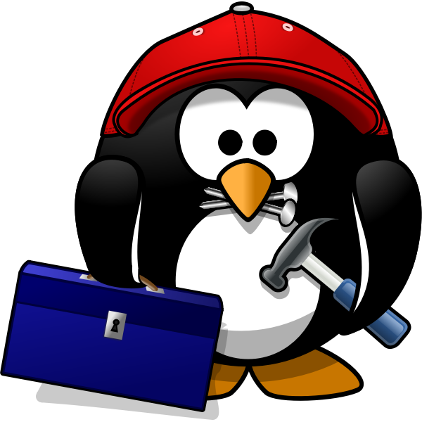Vector clip art of penguin repairman