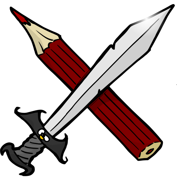 Sword and pencil vector drawing
