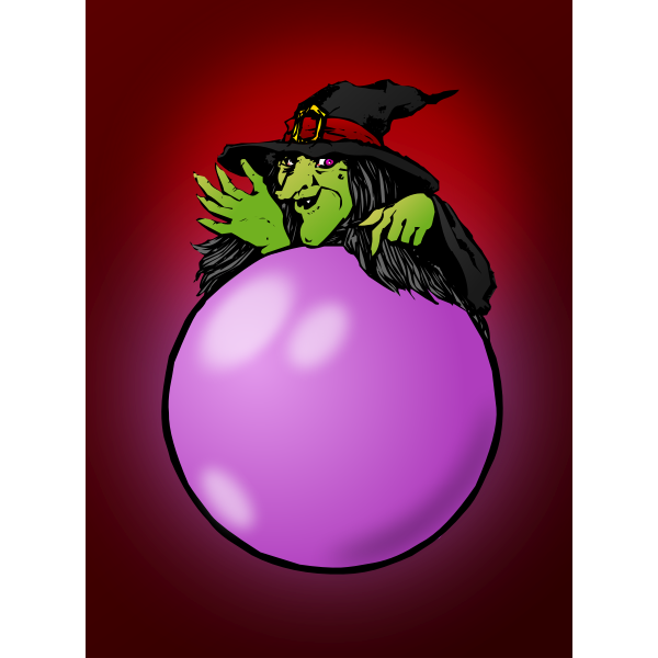 Witch with pink crystal ball vector illustration