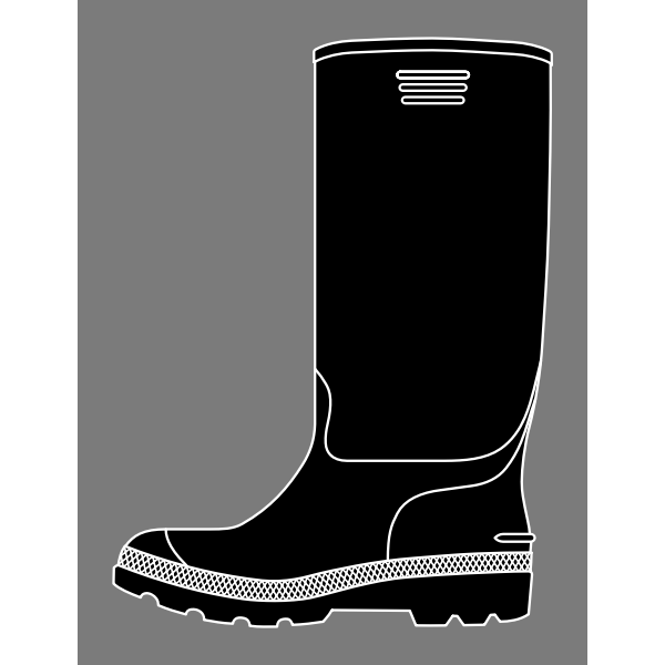 Vector image of black rubber boot on grey background