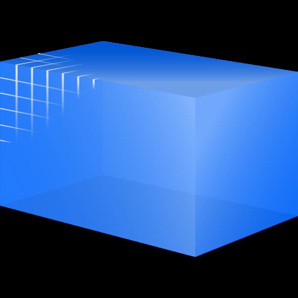 Transparent blue cube